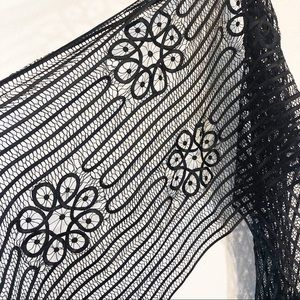 Chico's 100% silk lace black scarf with trim